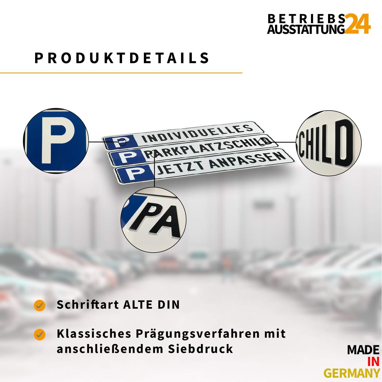 KFZ-Kennzeichen Elektroauto Betriebsausstattung24 Gepr/ägtes Parkplatzschild in Nummernschildform f/ür Ihren Parkplatz /& Stellplatz oder Kunden /& Besucher