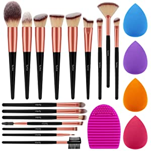 Syntus Makeup Brush Set, 16 Makeup Brushes & 4 Blender Sponges & 1 Brush Cleaner Premium Synthetic Foundation Powder Kabuki Blush Concealer Eye Shadow Black Golden Makeup Brush Kit
