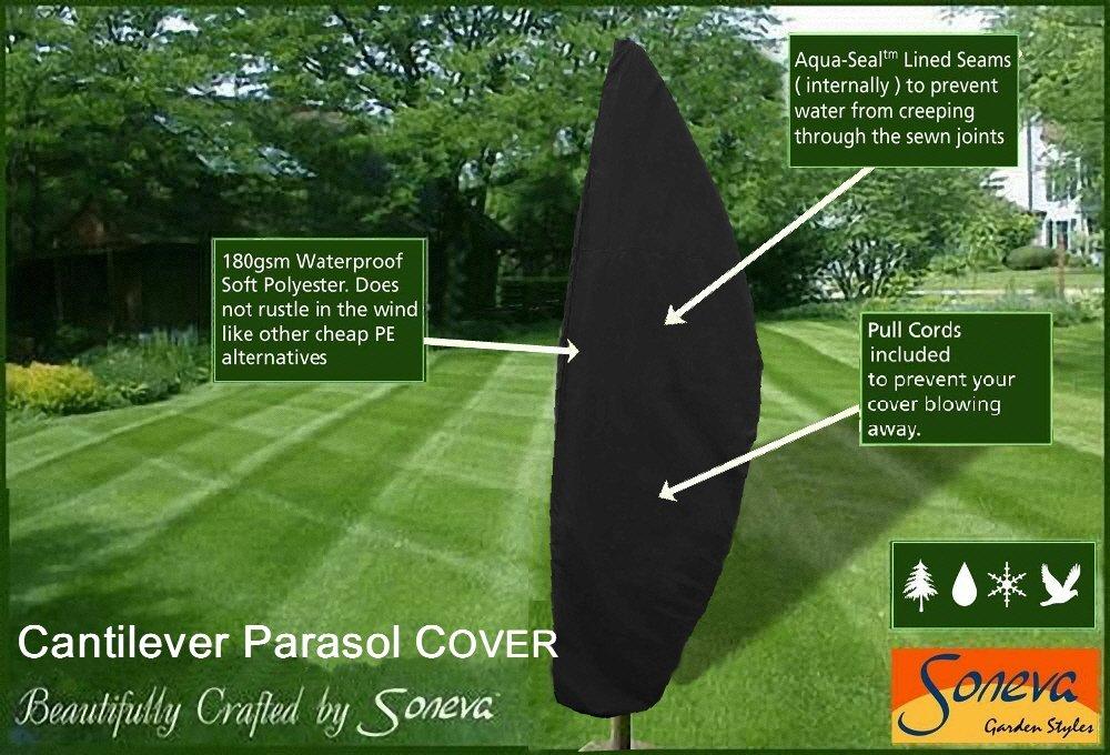 Cantilever Parasol Umbrella Cover Zipped High Quality Black Polyester Garden Patio (Black)