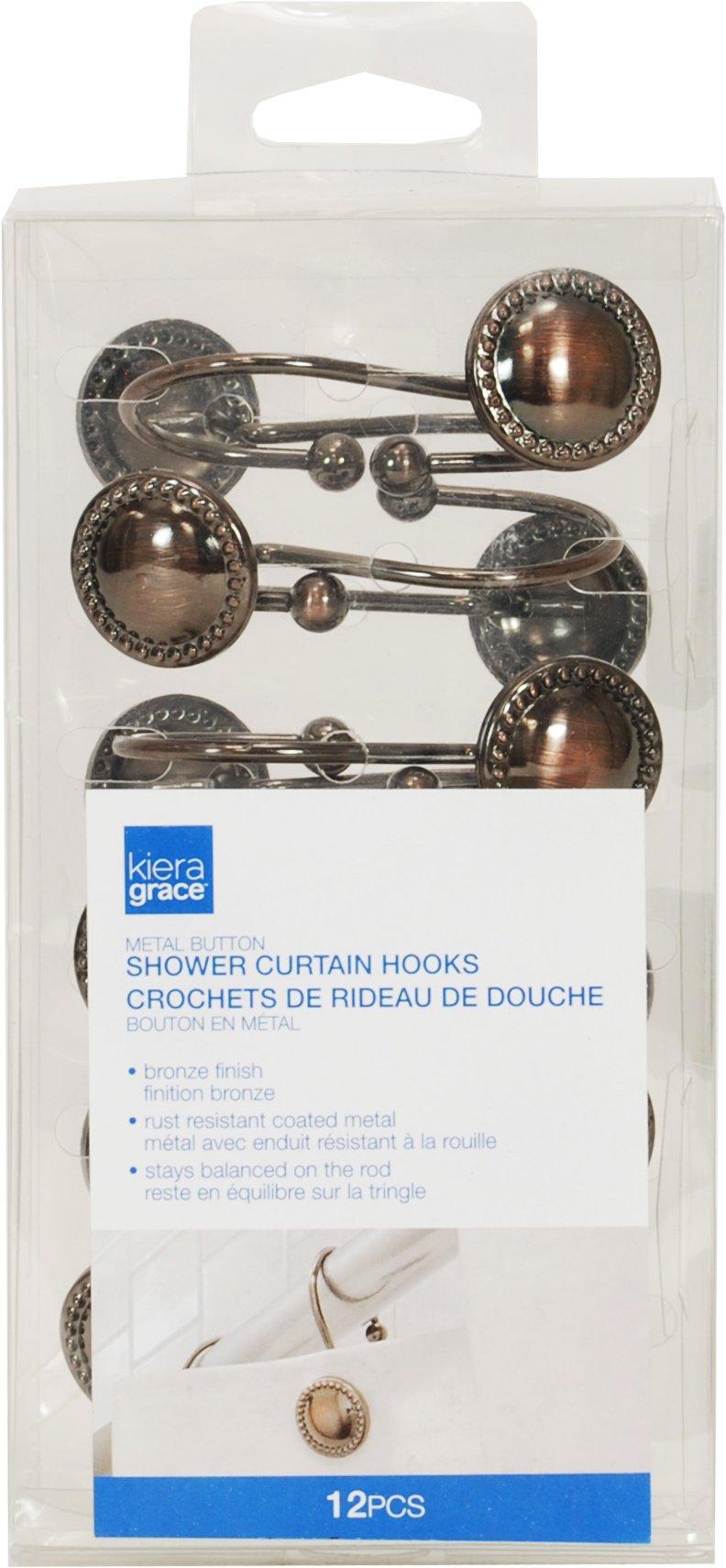 Kiera Grace Button Design Shower Curtain Hooks - Set of 12