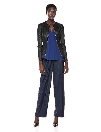 f3264ed6f1 Theory Women's Leather Movement VIP-up Jacket at Amazon Women's ...