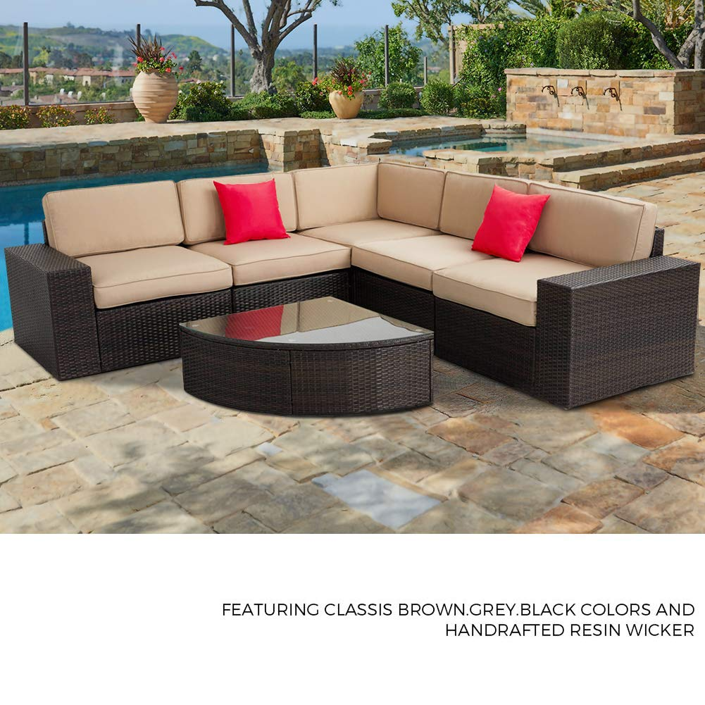 SUNCROWN Outdoor Furniture Sectional 6-Piece Patio Sofa and Wedge Table  Set, Washable Seat Cushions and Modern Glass Coffee Table, All-Weather  Brown ...