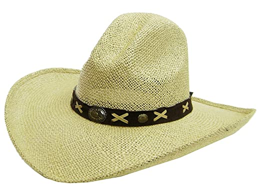 6f38b34d92eb7 Image Unavailable. Image not available for. Color  Modestone Unisex Large  Brim Straw Cowboy Hat Tan