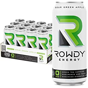 Rowdy Energy Drink, Sour Green Apple, Sugar Free, 16 fl Oz, Pack of 12 - Electrolytes, Natural Caffeine, Vitamins B6 & B12