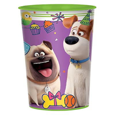 """The Secret Life Of Pets 2"""" Green and Purple Party Favor Plastic Cup 16 Oz.: Toys & Games,"""