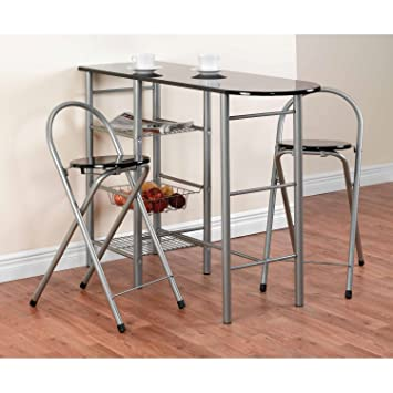 Wonderful Meubles Stainless Steel 3 Pc Breakfast Bar Table With 2 Folding Chair