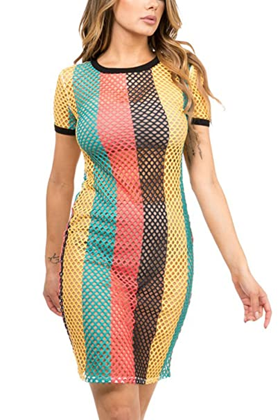 c298a839af GENx Womens Fishnet Rasta Jamaica Bikini Cover Up Tunic Dress KD8710 (L,  Multi): Amazon.ca: Clothing & Accessories