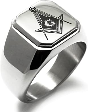Stainless Steel Freemasons Masonic Royal Compass Symbol Square Flat Top Biker Style Polished Ring