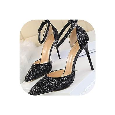 c7da8d4a971 Amazon.com | Easy Love Women Heel Sandals Gold Bling Sexy High Heels ...