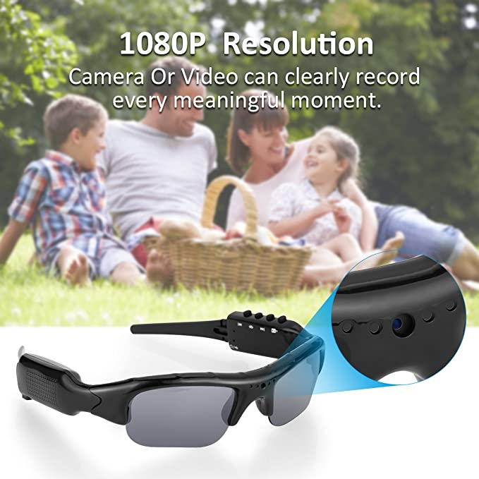 5b89133b73 Diggro Full HD Camera Sunglasses Recording Bluetooth 4.0 1080P HD Video  Recorder Polarized Sunglasses Protective Eyeglasses Micro SD Card Support  32 GB for ...