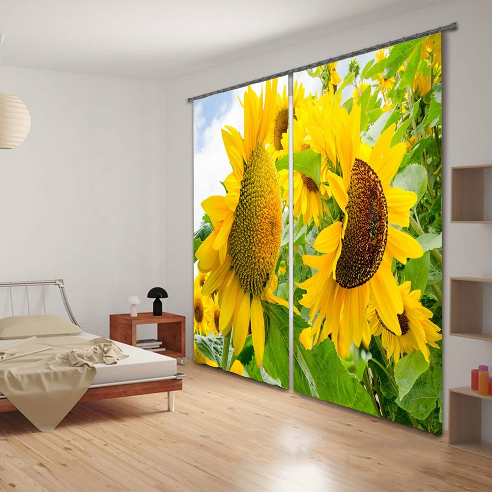 QIANGDA カーテン 3Dカーテン ヒマワリのパターン 環境印刷 断熱 窓処理 耐摩耗性2つのパネルのセット、 2つのスタイル オプションで、 カスタマイズされたサイズ ( 色 : 1# , サイズ さいず : W 2m x H 2.1m ) B078Z4VTXW W 2m x H 2.1m|1# 1# W 2m x H 2.1m