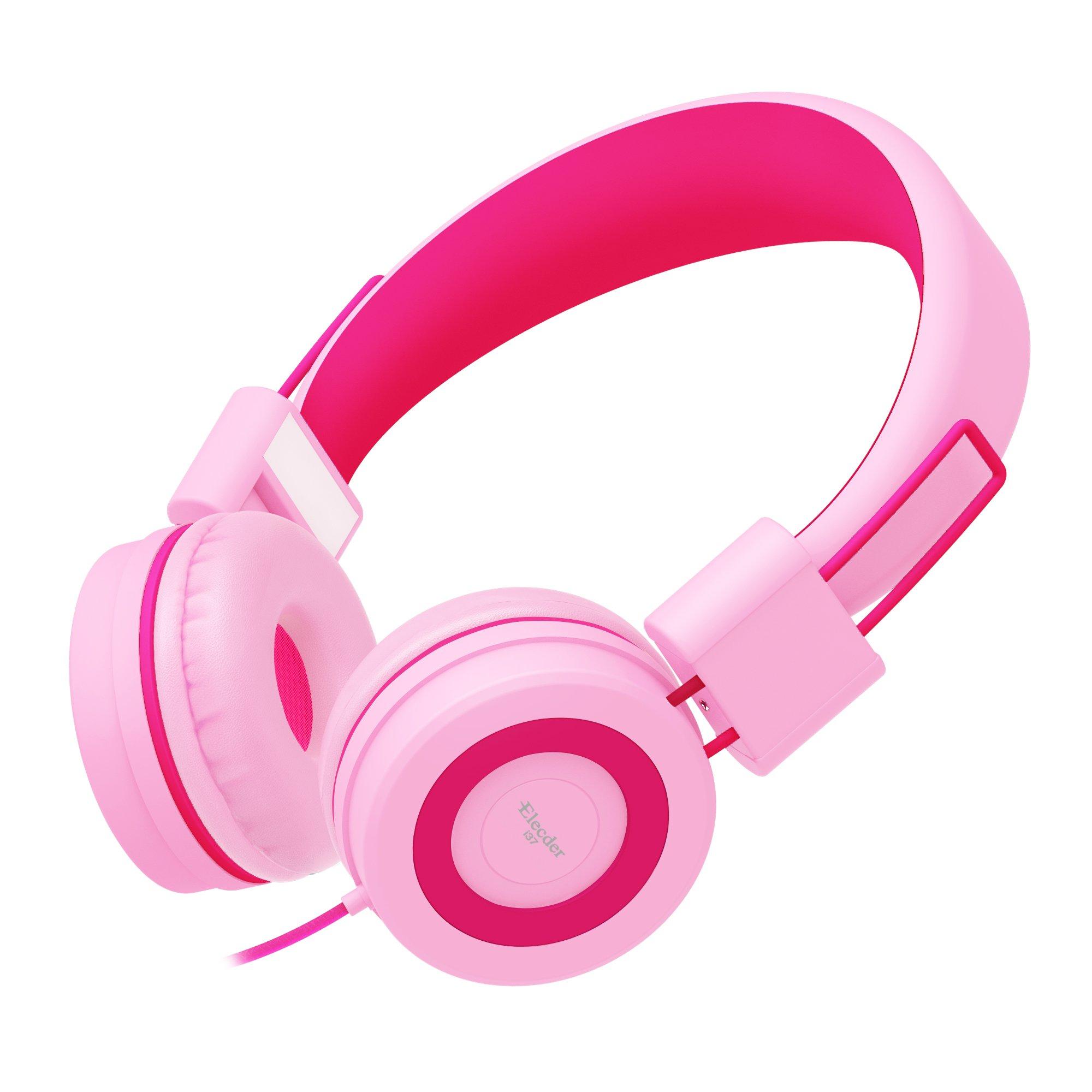 Elecder i37 Kids Headphones Children Girls Boys Teens Foldable Adjustable On Ear Headsets 3.5mm Jack Compatible iPad Cellphones Computer MP3/4 Kindle Airplane School Tablet Rose/Pink