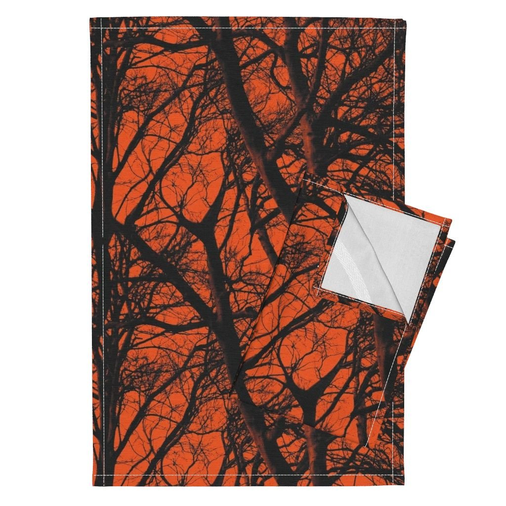 Roostery Tree Trees Branches Wood Black Orange Halloween Tea Towels The Tree Lace ~ Halloween Ii by Peacoquettedesigns Set of 2 Linen Cotton Tea Towels