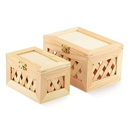 Unfinished Wood Box Trinket Box 2 Small Jewelry Boxes Nested Beautiful Lattice Design With Hinged Lid And Clasp Small Large Nested