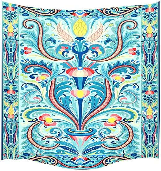 Simsant Sky Blue Tapestry Modern Art Wall Decor Magic Colors Wall Hanging Thicken Flannelette Floral Wall Blanket 60x60inches 152.4×152.4CM SIGE008