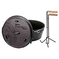 Petromax Dutch Oven Schwarz XL Camping Picknick ✔ Deckel ✔ rund ✔ tragbar ✔ Grillen mit Holzkohle