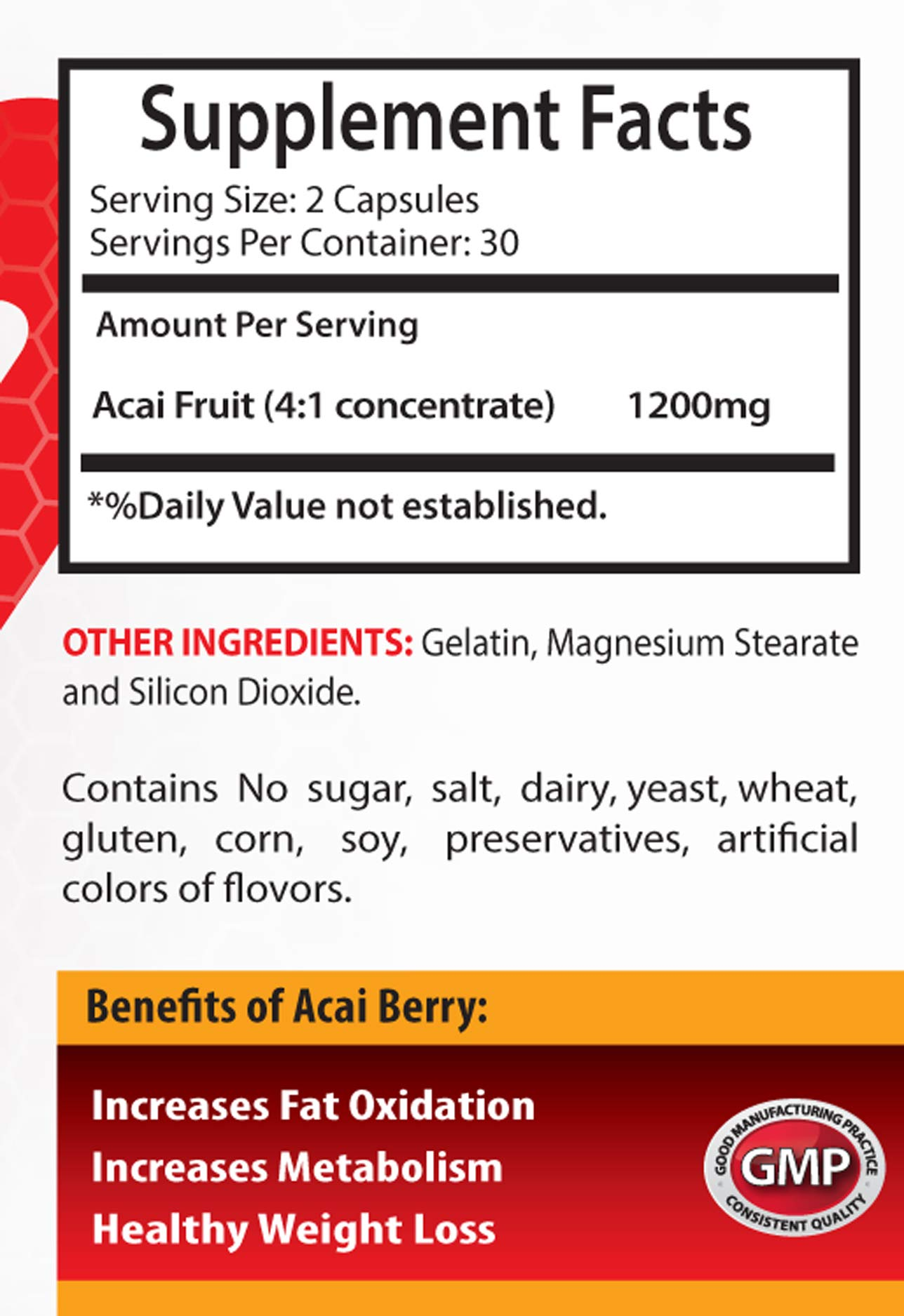 Immune Support Sugar Free - ACAI Berry 1200 MG - Super ANTIOXIDANT - acai Roots Pure acai - 3 Bottles (180 Capsules) by Healthy Supplements LLC (Image #2)