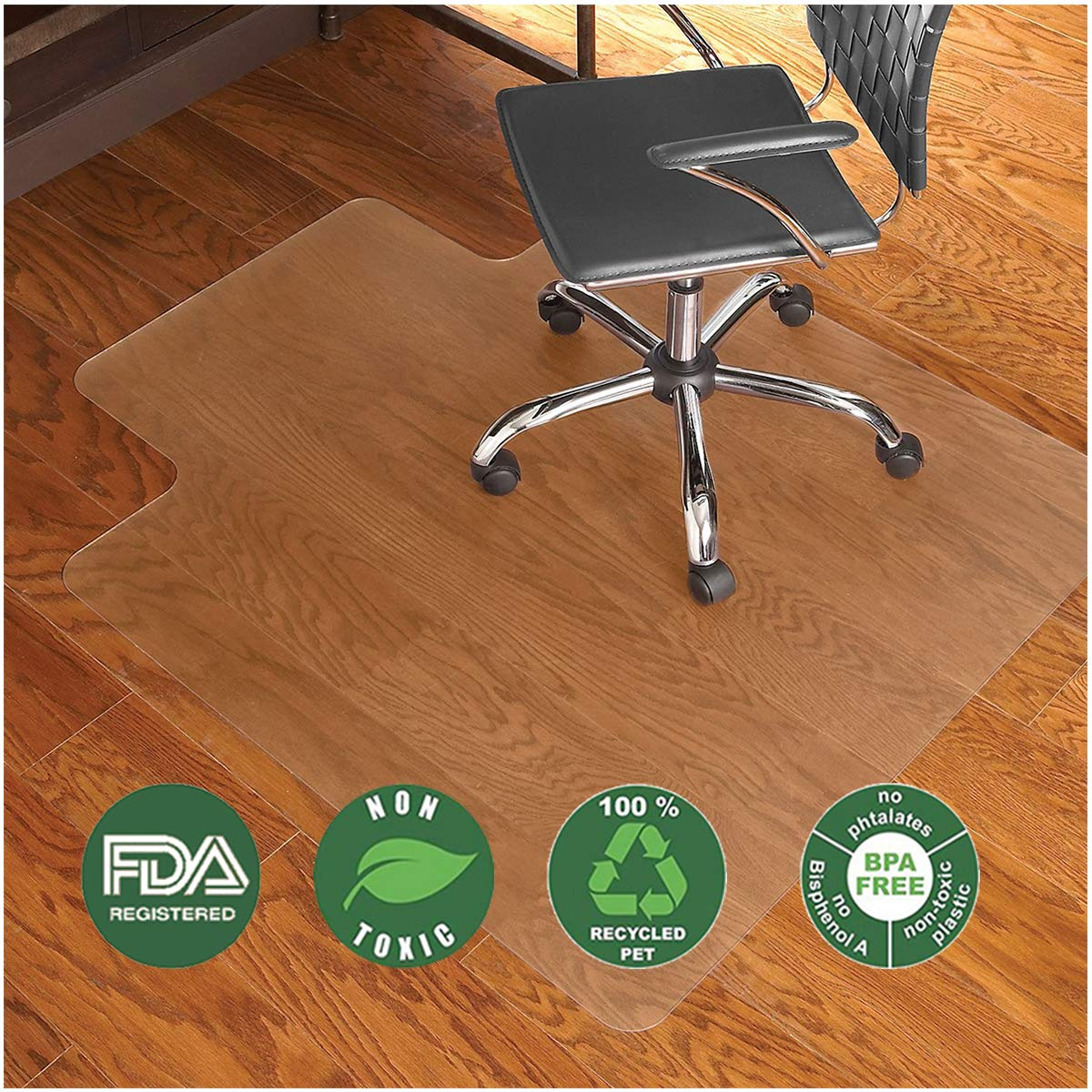 Nontoxic Office Chair Mat for Hard Floor 36'' x 48'' BPA Free Transparent Hardwood Floor Protector Easy Glide for Chairs Flat Without Curling Sturdy Durable Good for Computer Desk Office & Home