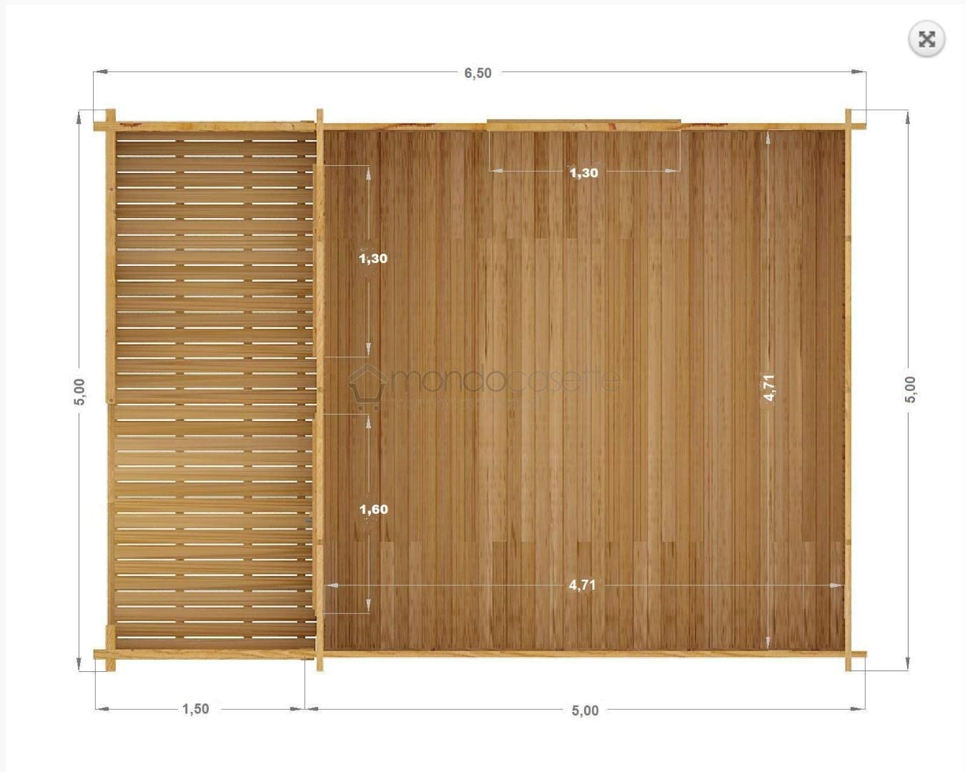 Mondocasette Casa Casa de Madera de jardín – Modelo Venta Grosor de Paredes 45 mm 500 x 500 cm, Bungalow Chalet Box: Amazon.es: Jardín