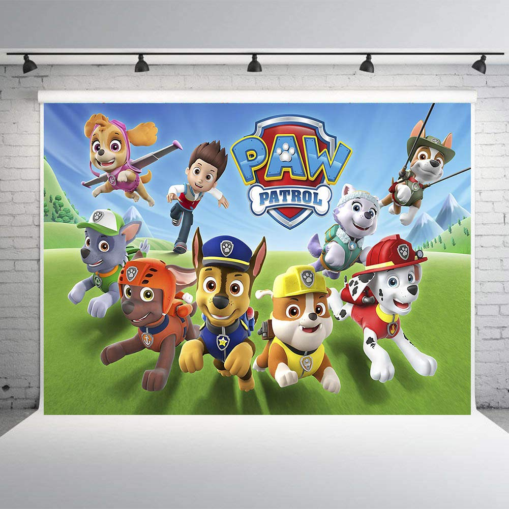 Paw Patrol Theme Party Banner Backdrops Puppy Dogs Vinyl 7x5ft Studio Props Photo Backgrounds for Photography Supplies Studio Props Children Birthday
