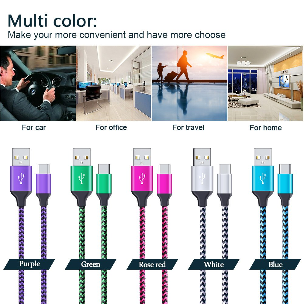 Samsung Galaxy Note 8 Fast Charger Cable, CIQILY 5-Pack 6FT Long Braided Quick Charging Cord, USB Type C Charger Cable for Samsung Galaxy S8/S8+, LG G5/G6/V20/V30, Nexus 5x/6p, Nintendo Switch &more by CIQILY (Image #7)