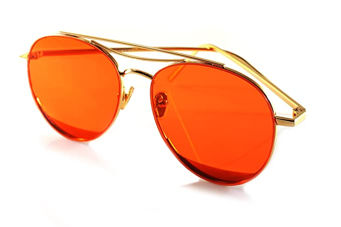 cc69d644ee FBL Slim Round Metal Frame Color Tinted Flat Lens Aviator A020 (Gold Ruby  Red