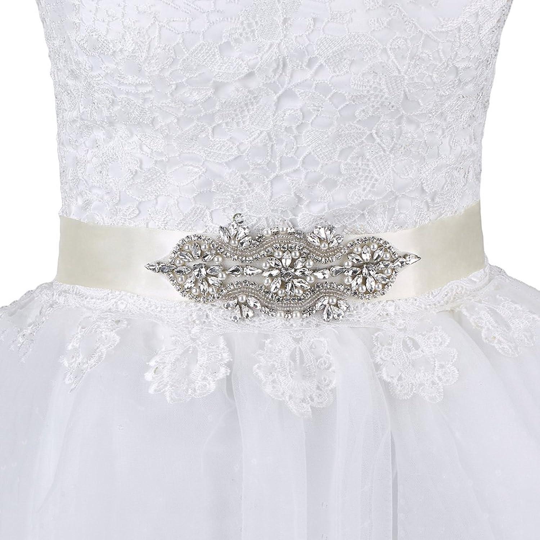 EagleUS Ivory Applique Trim Clear Rhinestone Wedding Sash Bridal Belts for Dress