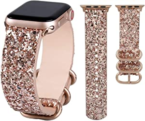 JOHIPI Bling Bands Compatible with Apple Watch Band 38mm 40mm 42mm 44mm Series 6 5 4 3 2 1 SE Bands Women, iWatch Shiny Bling Glitter Leather Loop Buckle Strap Sports & Edition (Rose Gold, 38mm/40mm)