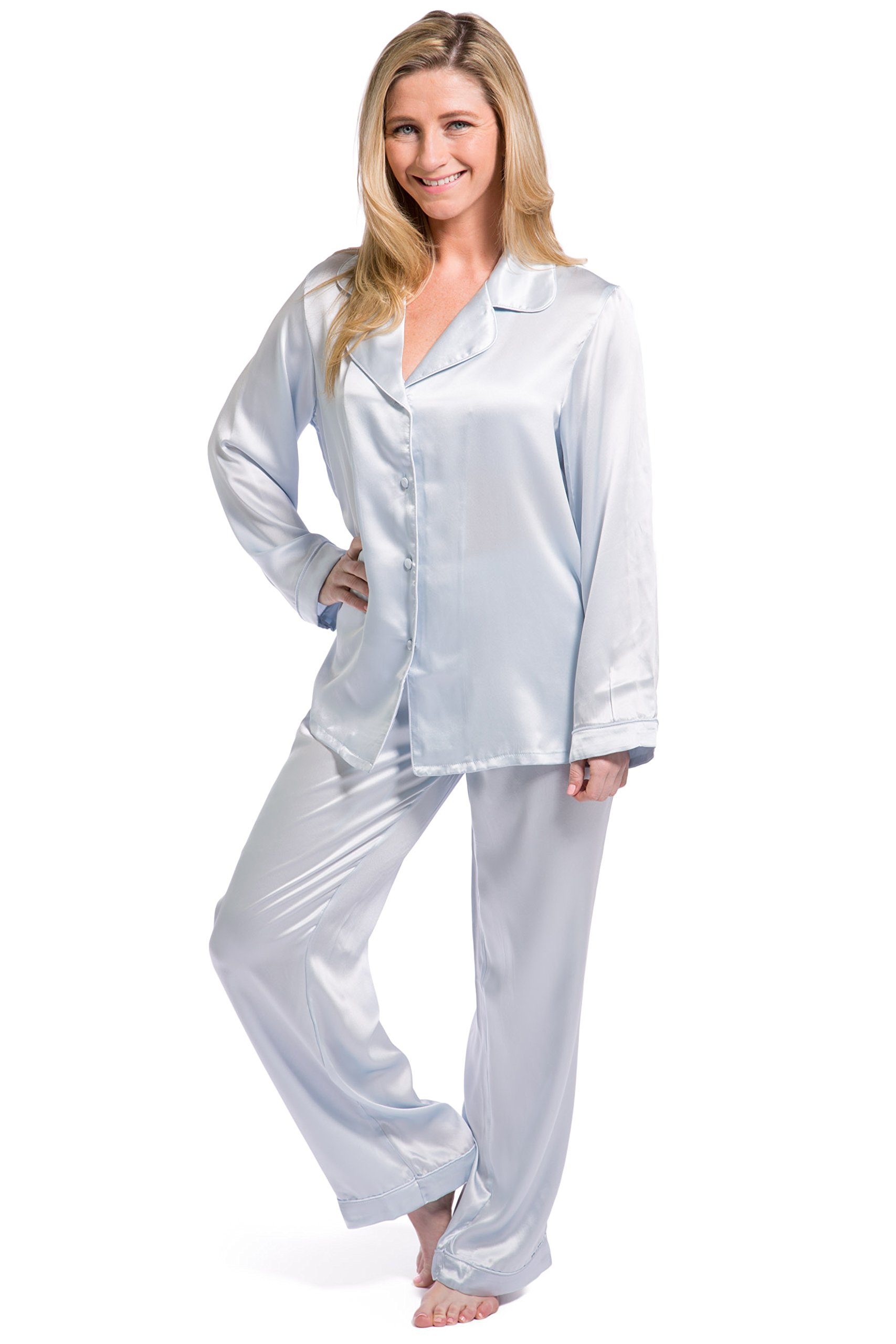 Fishers Finery Women's Classic Pure Mulberry Silk Pajama Set With Gift Box, Light Blue, Medium