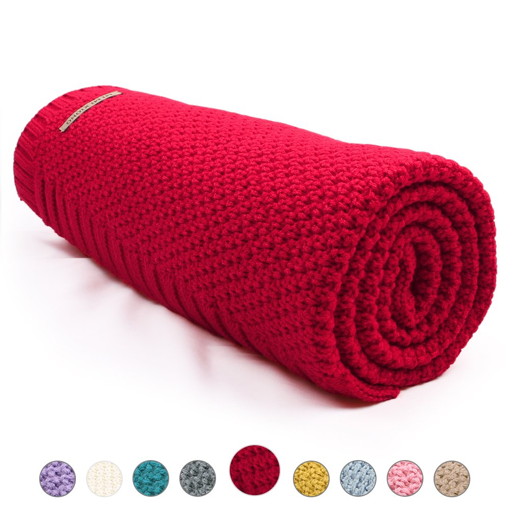 mimixiong Toddler Knitted Blanket Baby Blankets for Boys and Girls(Pink) 82W249
