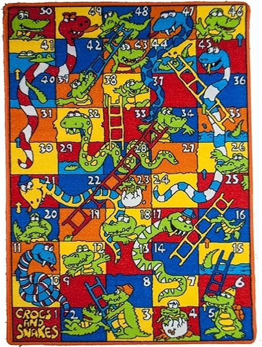 Serpientes y Escaleras Crocs diseño zona alfombra, Vibrant Whimsical animales serpiente, diseño de cocodrilo Rectángulo interior Pasillo puerta cabina para el dormitorio zona alfombra, diseño de niños, Multicolor tamaño 84