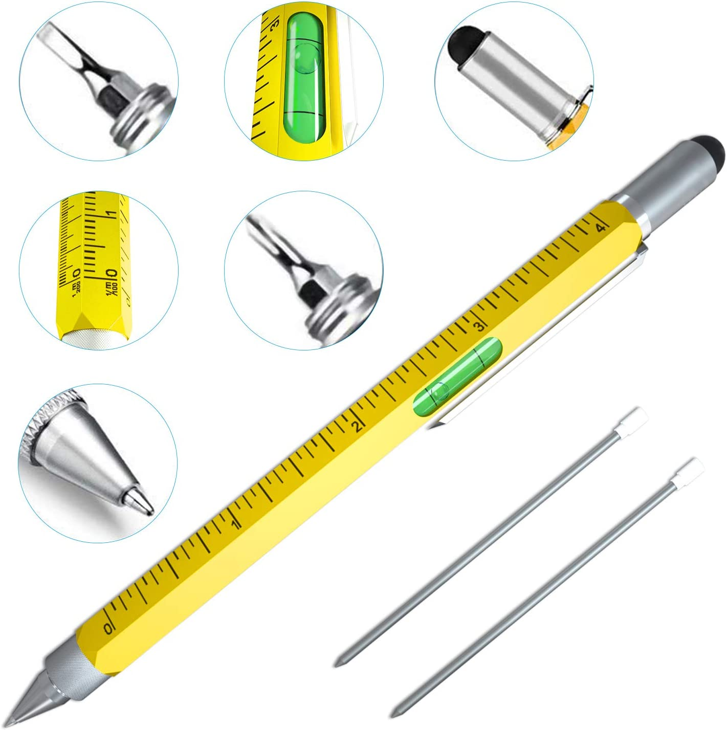 Cool Pen Gifts for Men, Cutier 6-in-1 Multi Tool Tech Pen Gadgets Tools for Men, Personalized Gifts for Dad or Him, Funny Gift for Christmas, Father's Day Valentines or Birthdays Gifts (Yellow)