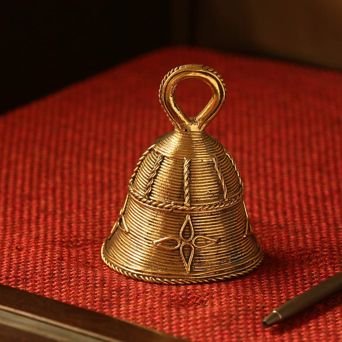ExclusiveLane Indian 'Tinkling Melody' Handmade Brass Pooja Bell in Dhokra Art - Decorative Hanging Bells for Pooja Mandir Puja Bell Hangings Décor Metal Bells Pooja Items for Home Decoration