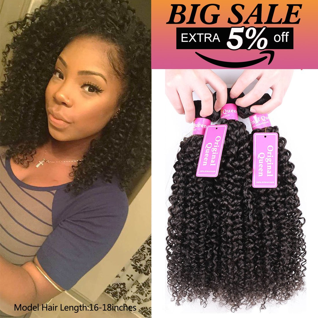 Amazon bly hair 3 bundles 8inches 100 unprocessed 7a original queen 100 brazilian unprocessed virgin kinky curly human hair weave 3 bundles deep curly pmusecretfo Images