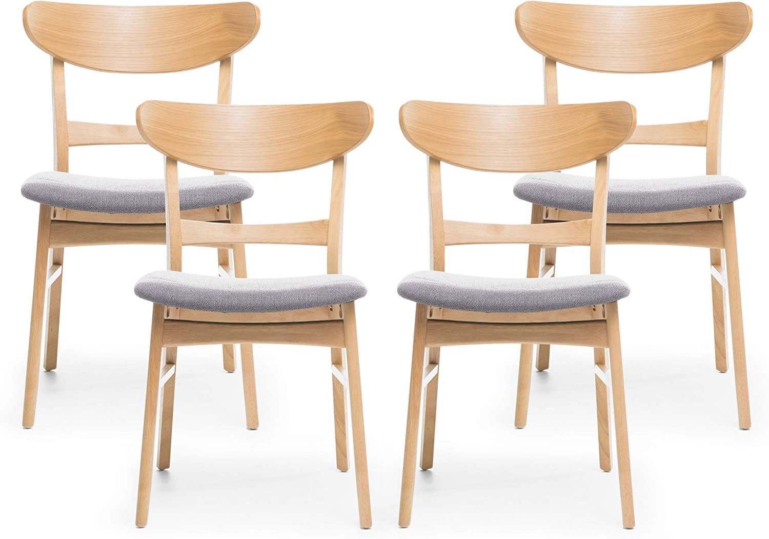 Christopher Knight Home Heather Mid-Century Modern Dining Chairs (Set of 4), Dark Gray, Natural Oak