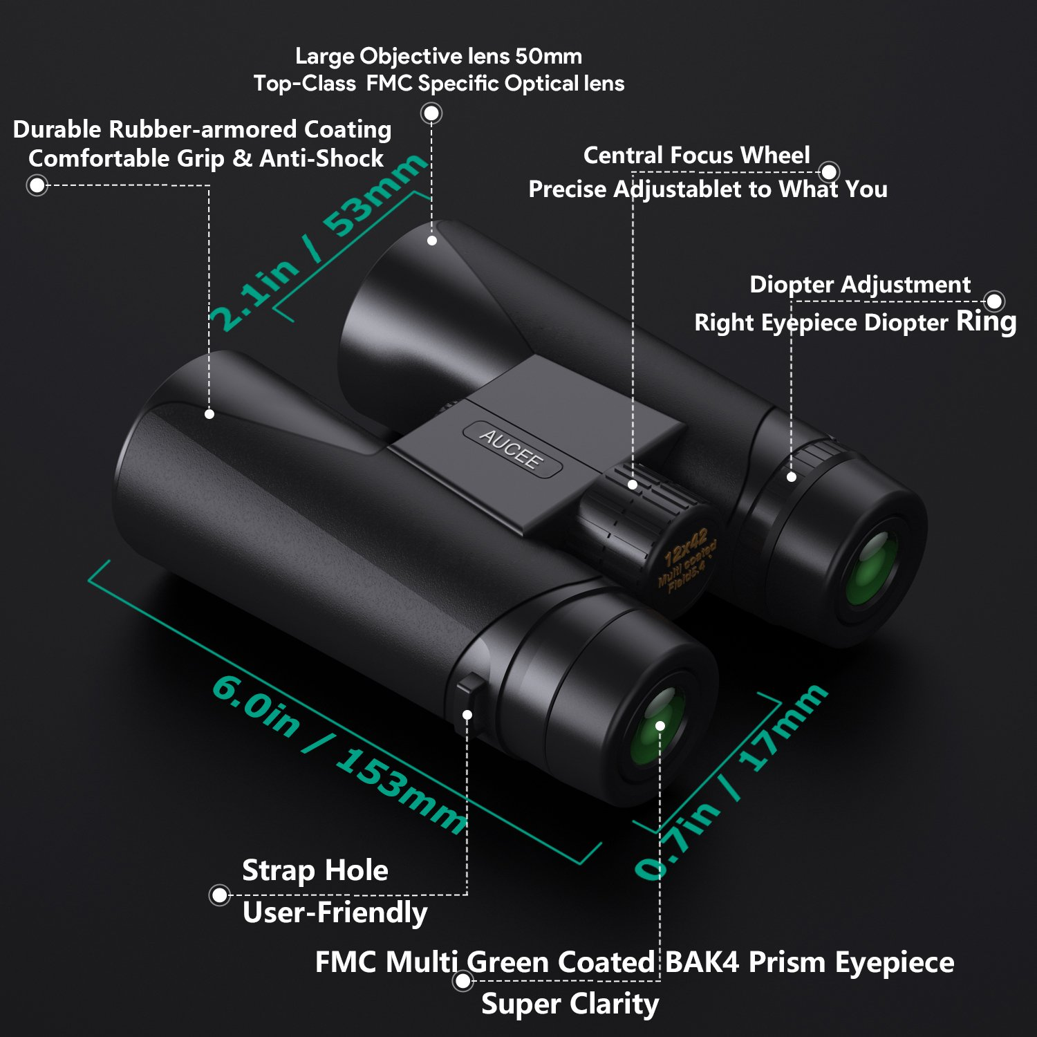 12 x 42 Binoculars for Adults, AUCEE Compact Binoculars for Bird Watching Concerts Football Sports Waterproof Professional HD Binoculars for Travel Hiking-BAK4 Prism FMC Lens with Strap Carry Bag by AUCEE (Image #2)
