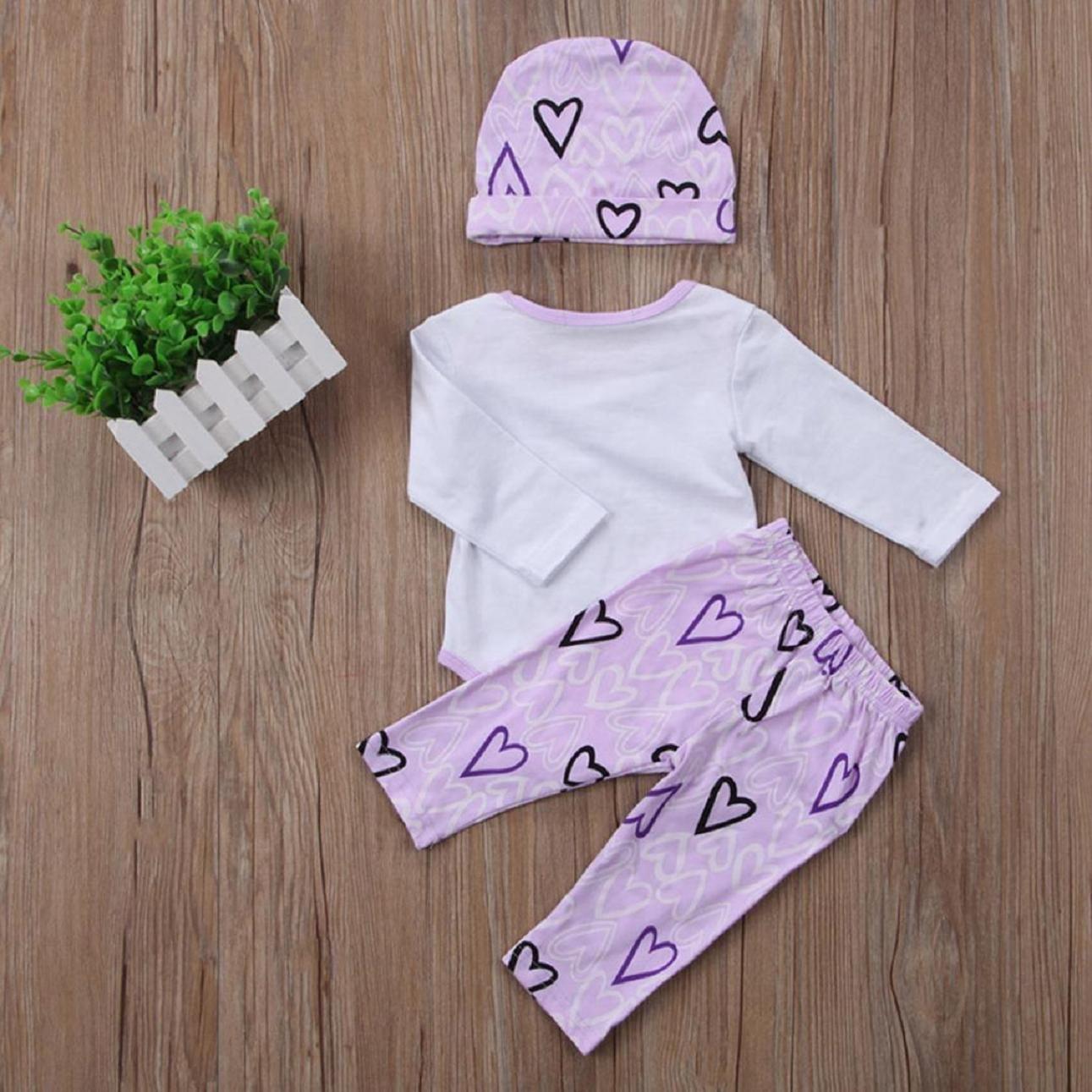 Juego de ropa de bebé, ppbuy bebé Pelele de carta impreso + corazón Patten pantalones sombrero 3pcs ropa Set: Amazon.es: Oficina y papelería