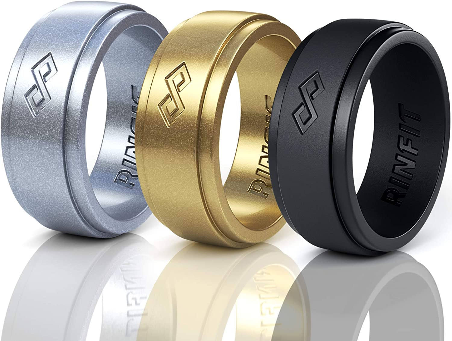 Designed Size 7-14 Rinfit Mens Silicone Wedding Ring 1 or 3 Rings Pack Metallic Colors. Safe /& Soft Men Silicon Rubber Wedding Ring