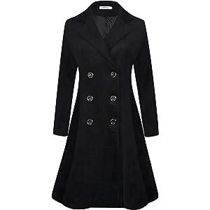 ba437ec6829 Amazon.com: Escalier Women's Double-Breasted Trench Coat Wool Jacket ...