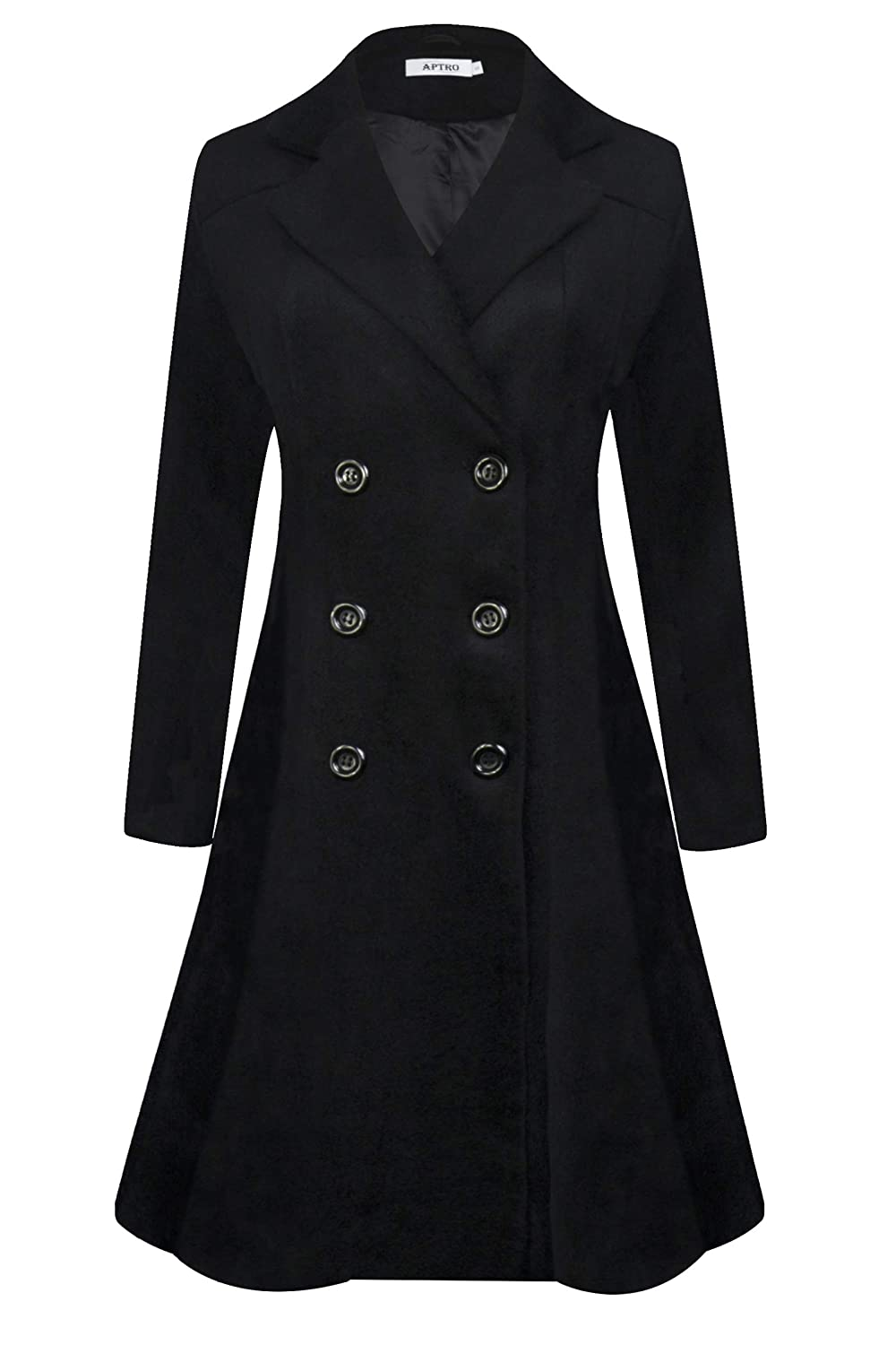 APTRO Women's Winter Wool Trench Coat Double Breasted Long Pea Coat