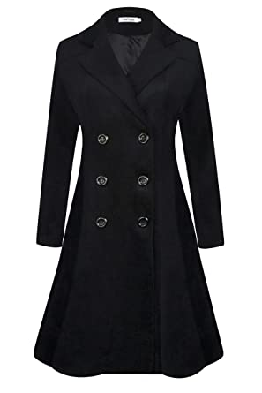 b4286082476 APTRO Women's Winter Lapel Double Breasted Wool Trench Coat Long Overcoat  (X-Small,