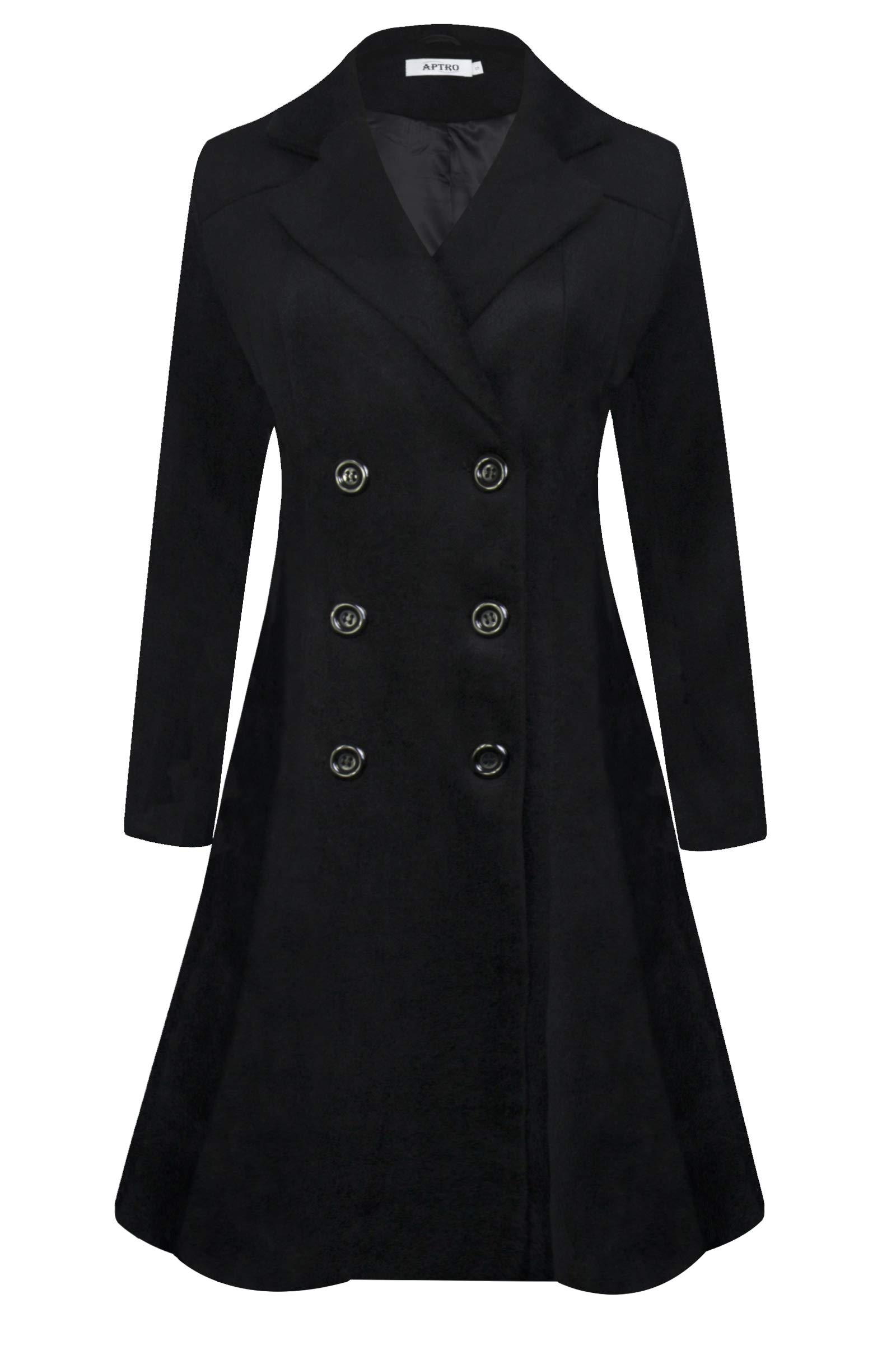 APTRO Women's Winter Trench Coat Long Lapel Double Breasted Wool Pea Coat WS02 (Medium, WS02 Black)