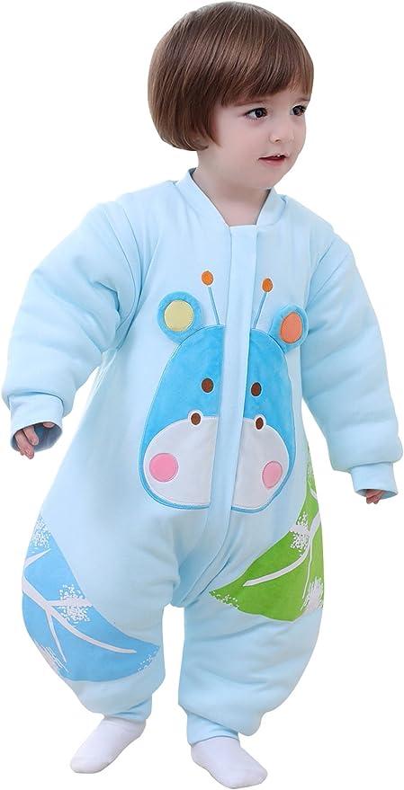BEIFANCHEN - Mono Saco de Dormir Espese para Bebés Invierno Pijama de Algodón con Pies Cremallera Mangas Desmontables Estampado 3D Dibujos Animados Cartoon para Niños Niñas - Azul - Talla L: Amazon.es: Bebé
