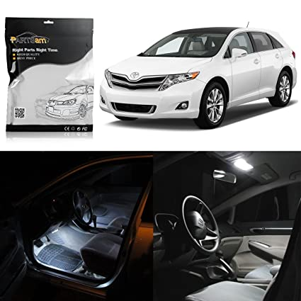 Partsam 2009 2015 Toyota Venza White Interior LED Package Kit + License  Plate Lights (