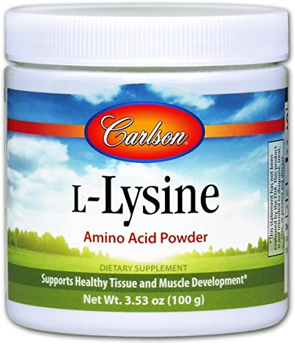 Carlson – L-Lysine Powder, Free-Form Amino Acid, 960 mg, Supports Healthy Tissue Muscle Development, 3.53 oz 100 g
