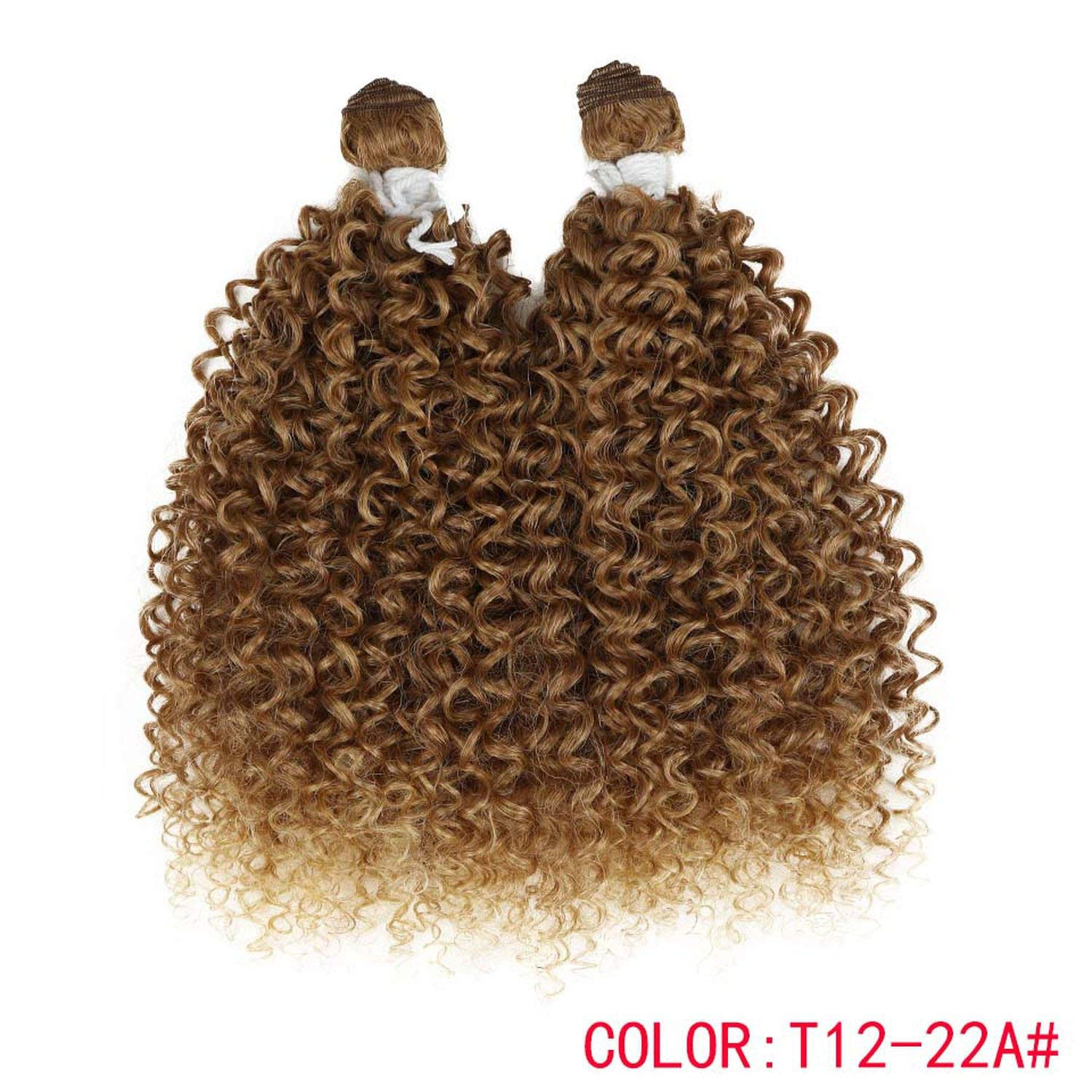 24''inch 2pcs/pack Curly Hair Weaving Kinky Curly Hair Extensions Weft Synthetic Hair Weave Bundles For Black Women,T12-22A,24inches by Ting room