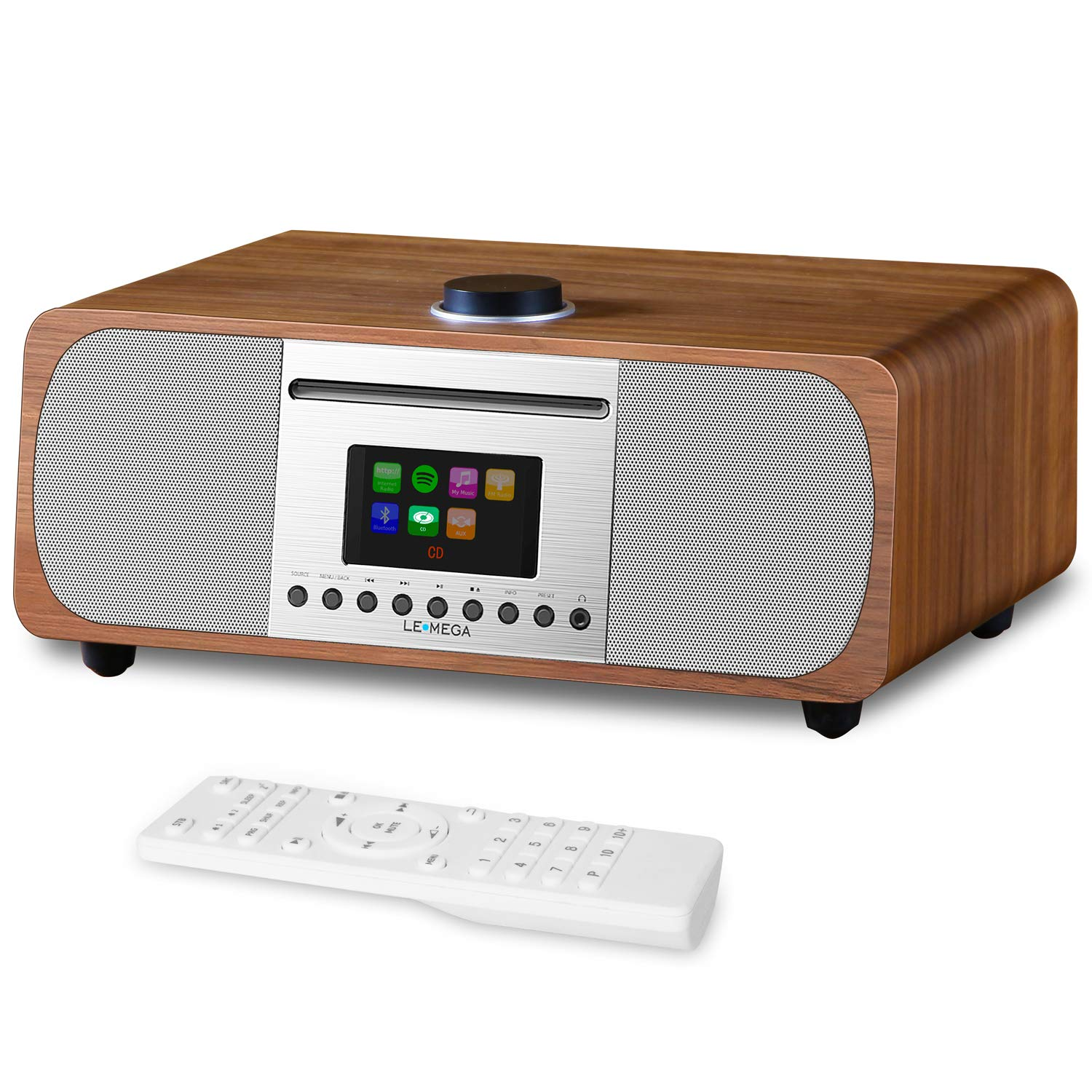LEMEGA M5+ All-in-One HiFi Music System with CD Player, Internet Radio, FM Radio, Spotify, Bluetooth, WiFi, 2.1 Channel Stereo Speaker, Headphone-Out, USB MP3, AUX-in, App & Remote Control (Walnut)