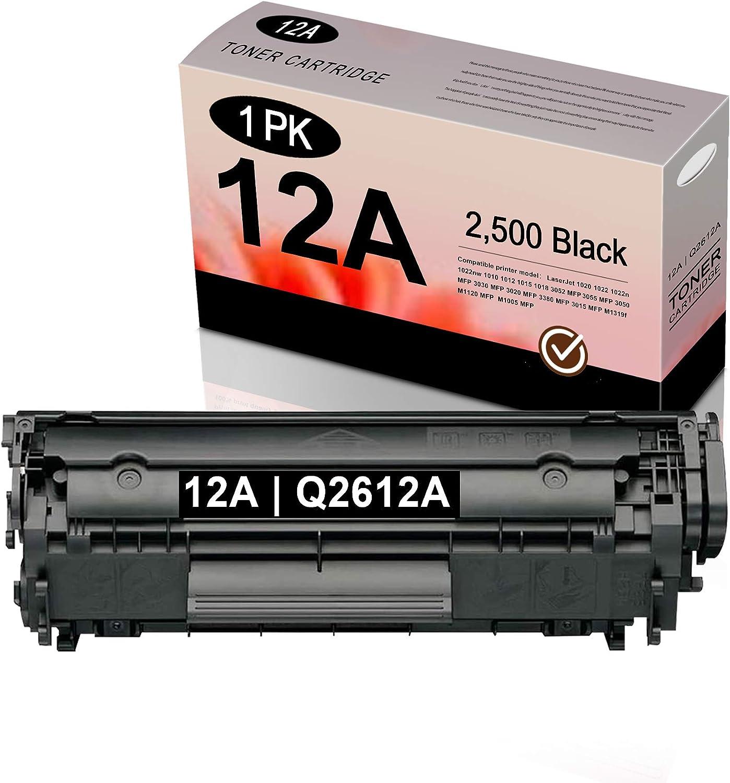 12A | Q2612A Toner Cartridge (Black,1 Pack) Replacement for HP Laserjet 1020 1022 1022n 1022nw 1010 1012 1015 1018 3052 MFP 3055 3050 3030 3020 3380 3015 M1319f M1120 M1005 Toner Kit Printer