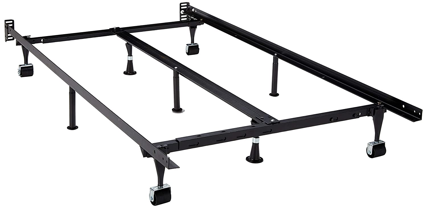 Wheels Structures by Malouf Heavy Duty 9-Leg Adjustable Metal Bed Frame with Center Support and Rug Rollers - Universal (King, Cal King, Queen, Full, Twin XL, Twin)