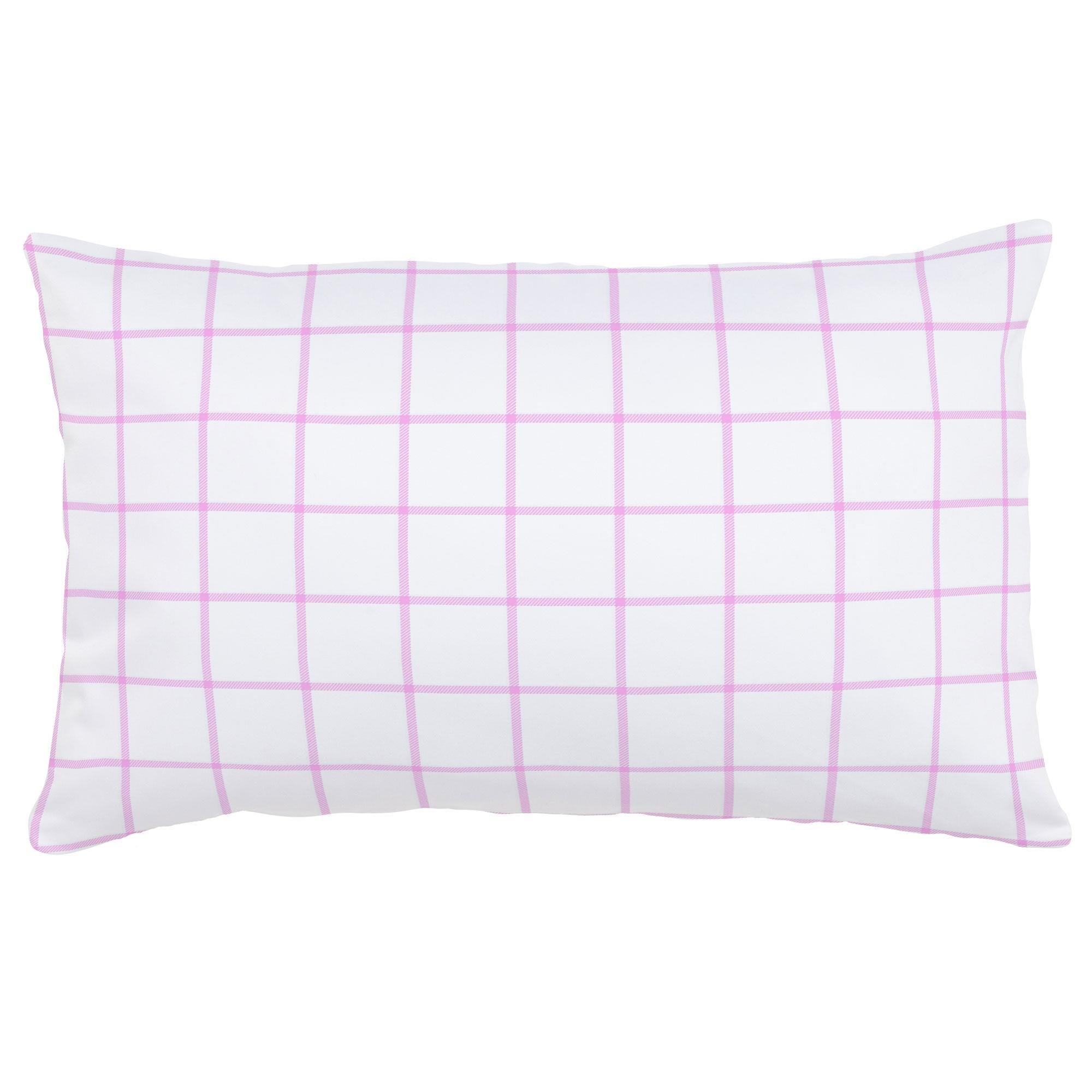 Carousel Designs Orchid Windowpane Lumbar Pillow - Organic 100% Cotton Lumbar Pillow Cover + Insert - Made in the USA